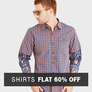 Flat 60% discount on Men's Shirts