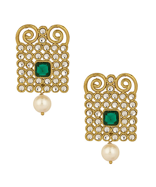 Voylla Kundan Studded Earrings With Gold Plating, Geomteric Design