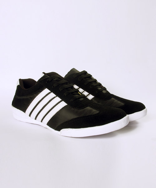 Black with White Stripes Shoes Online