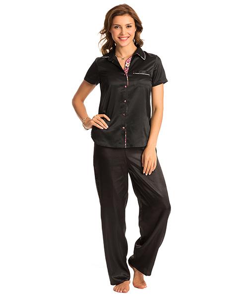f0d5b024f6b Pretty Secrets Black Button Front Short Sleeve Top   Pj Set Online ...