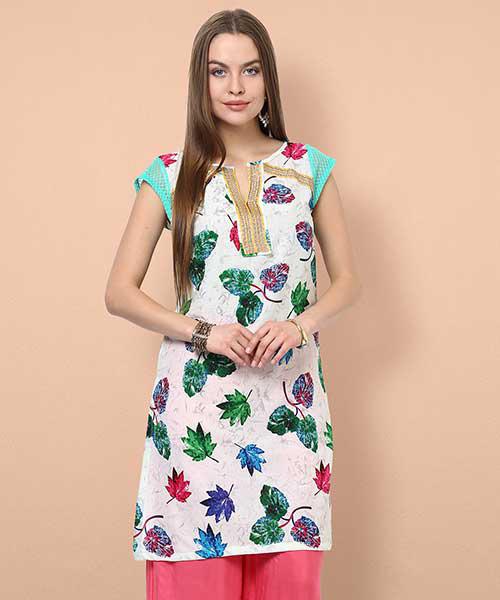 f5af29ddd8 Yepme Antonia Leaf Print Kurti - Off White & Green