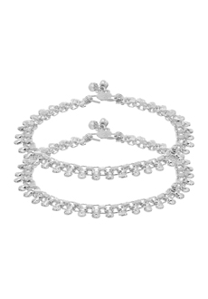 31d160b06 Voylla Silver Toned Stylish Pair of Anklets
