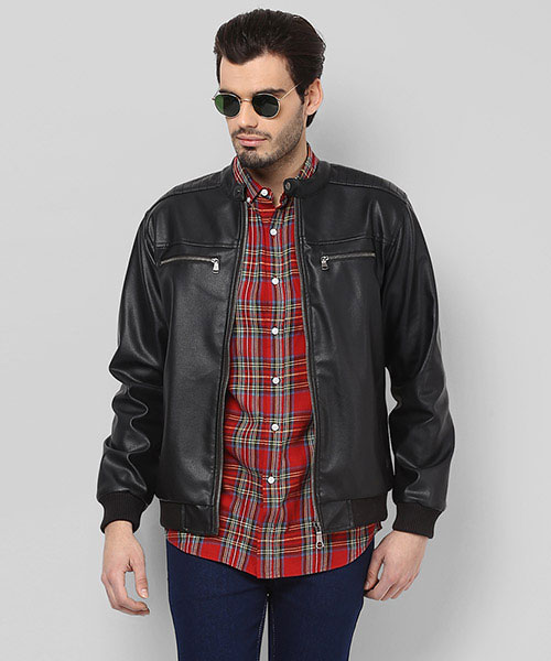 Yepme Henry PU Leather Jacket - Black
