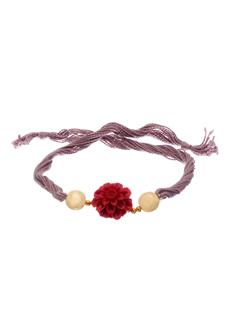 Voylla Brown Reshmi Dori Rakhi With Red Floral Enamel Work