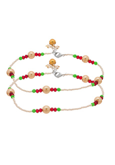 6788d9a00 Voylla Pearl Beaded Anklet Pair Studded Beautifully With Multicolor Beads
