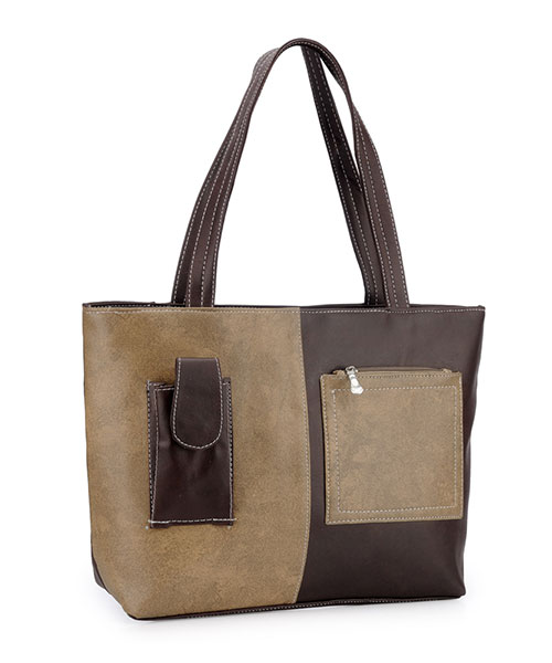 Women's Tote Bag - Beige& Brown Online Shopping | 128355