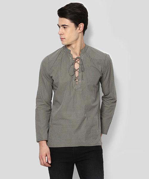 Yepme Bert Stripes Kurta Shirt - Green