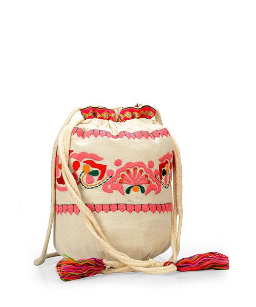 Yepme Printed Potli Bag - Cream & Pink