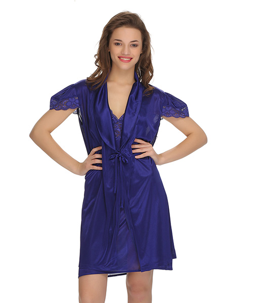27e509d610 Clovia 2 Pc Premium Satin Nightwear In Dark Blue With Lace Online ...