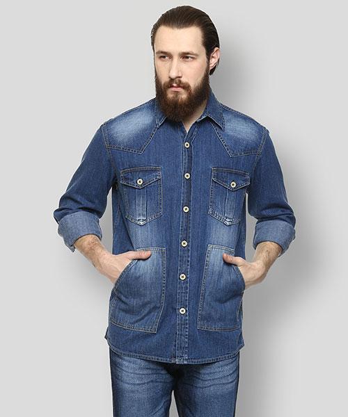 Yepme Antonio Denim Overshirt - Medium Wash