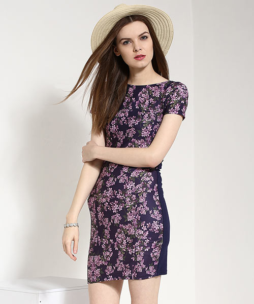 Yepme Floral Print T-Shirt Dress - Blue