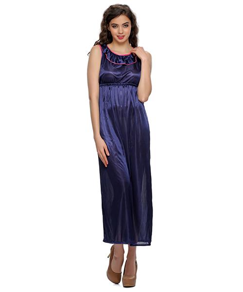6857f25080 Clovia 2 Pcs Satin Nightwear Set In Blue - Long Robe   Nightie ...