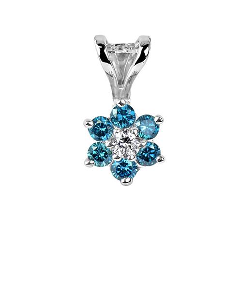 Voylla Blue Stone Embedded Floral Pendant