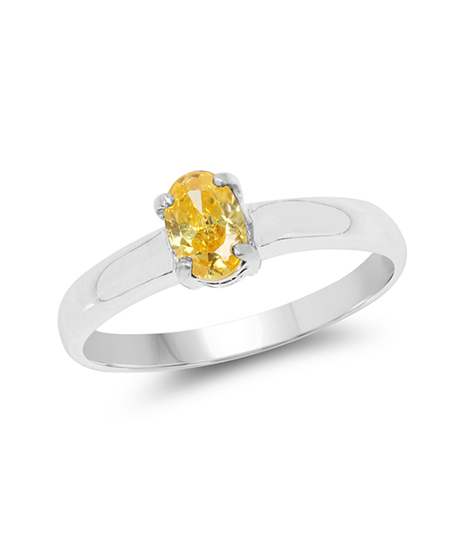 Yellow Cubic Zirconia .925 Sterling Silver Solitaire Ring