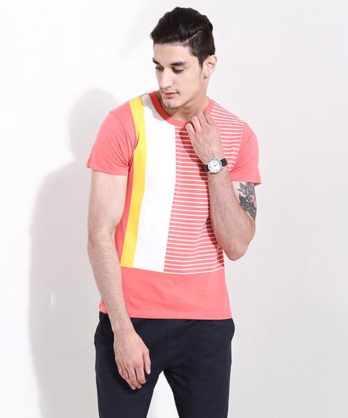 Yepme Color Block Stripes Tee - Orange