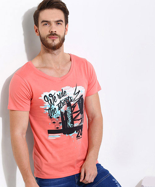 Yepme We Rule the Streets Graphic Tee - Coral