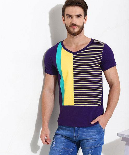 Yepme Color Block Stripes Tee - Purple