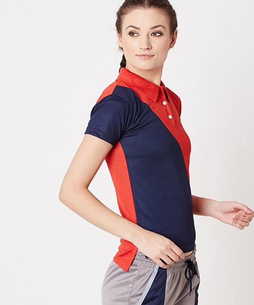 Yepme Carlyn Dryfit Polo Tee - Red & Blue