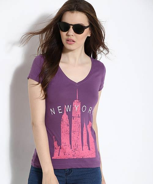 Yepme Newyork Graphic Tee - Purple
