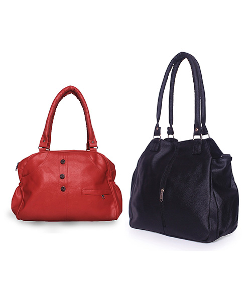Arc HnH Women Handbag Combo Contemporary Black & Elegant Red