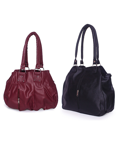 Arc HnH Women Handbag Combo Contemporary Black & Pretty Pink