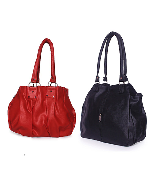 Arc HnH Women Handbag Combo Contemporary Black & Pretty Red
