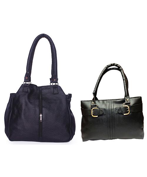 Arc HnH Women Handbag Combo Contemporary & Buckle - Black