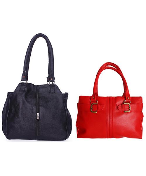 Arc HnH Women Handbag Combo Contemporary Black & Buckle Red