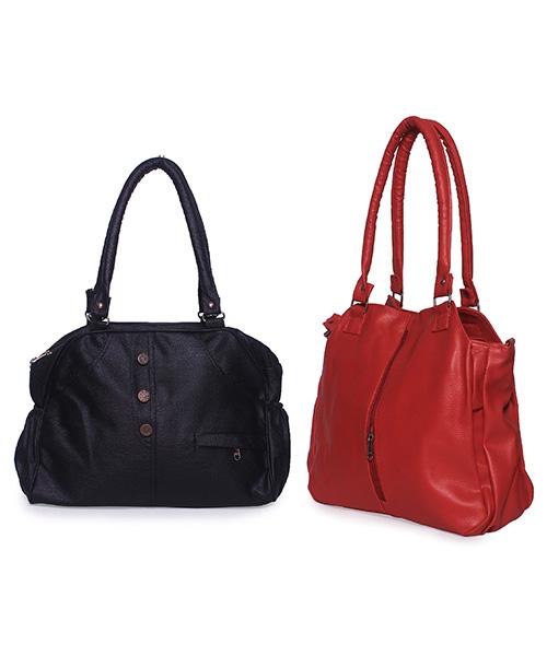 Arc HnH Women Handbag Combo Contemporary Red & Elegant Black