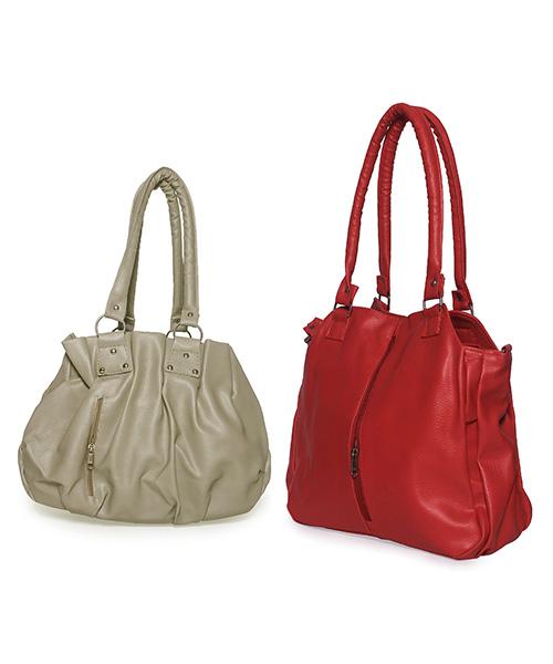 Arc HnH Women Handbag Combo Contemporary Red & Pretty Grey