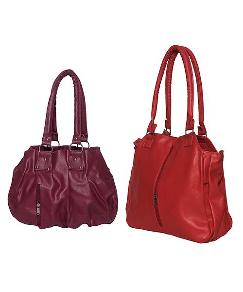 Arc HnH Women Handbag Combo Contemporary Red & Pretty Pink