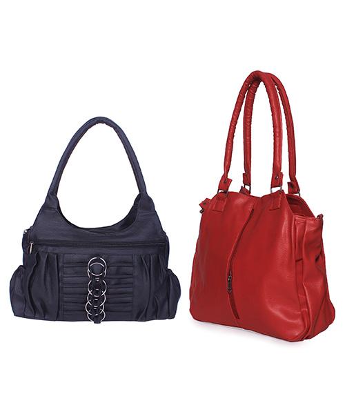 Arc HnH Women Handbag Combo Contemporary Red & Magnificent Black