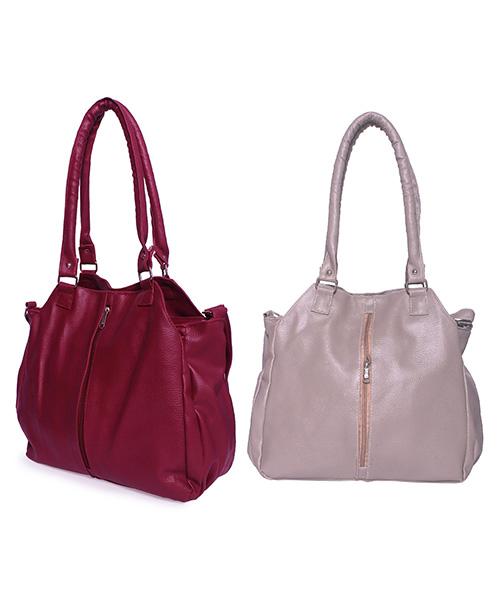 Arc HnH Women Handbag Combo Contemporary - Grey&Pink