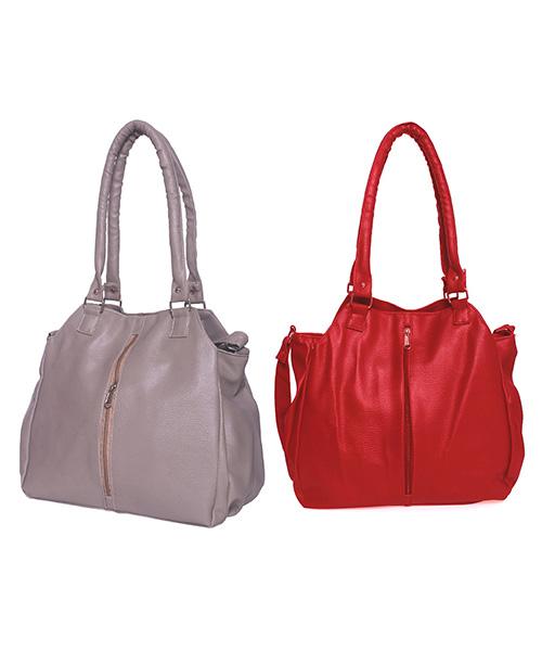 Arc HnH Women Handbag Combo Contemporary - Grey&Red