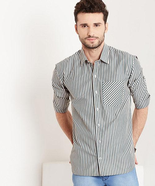 Yepme Albert Striped Shirt - Green