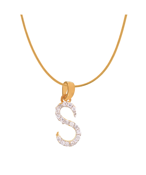 Mahi Gold Plated Stylish S Initial Pendant