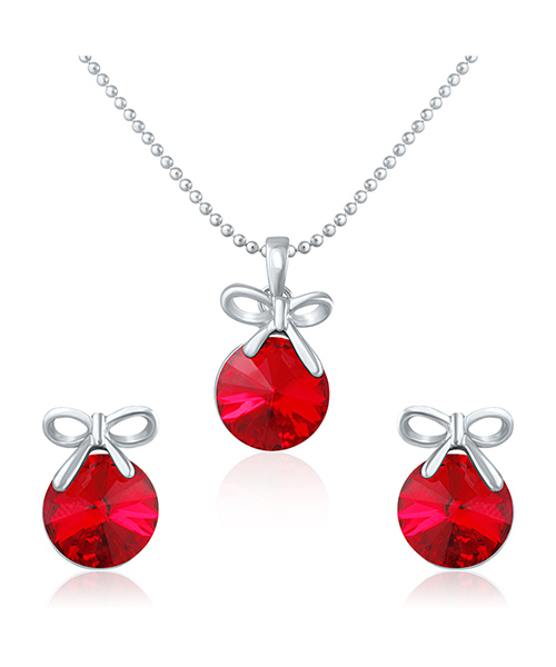 Mahi Rhodium Plated Red Swarovski Elements Pendant Set