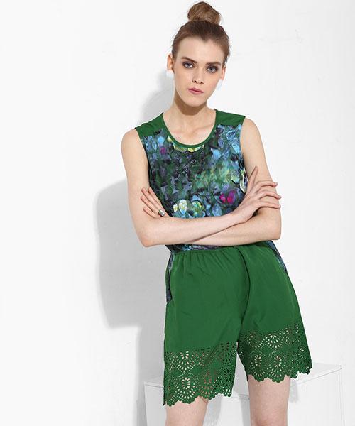 ee6143bec6b Megan Laser Cut Playsuit - Green Online Shopping
