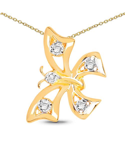 J4K Yellow Gold Plated Brass Butterfly Shape Pendant