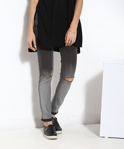 Yepme Erica Distressed Denim - Black