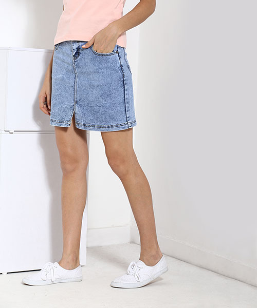 Yepme Kaylla Light Wash Denim Skirt - Blue