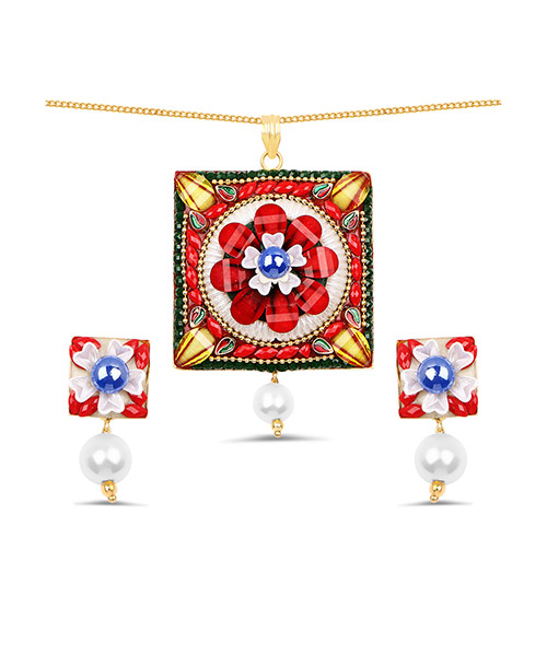 Multistone & White Synthetic Pearl Gold Plated Brass Pendant Set