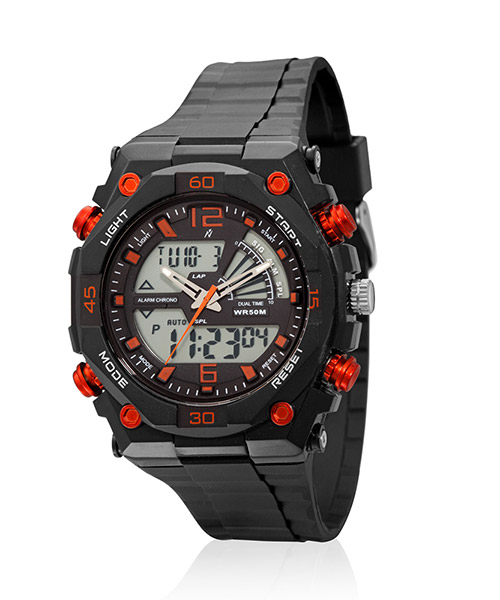 Yepme Men's Analog Digital Watch - Black/Orange