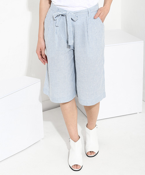 53d8aaefe30cb Heidi Linen Culottes - Blue   Ecru Online Shopping
