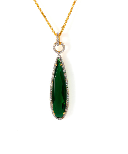 Voylla Green Glass Stone Adorned Pendant