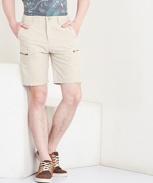 Yepme Eugene Linen Shorts - Beige