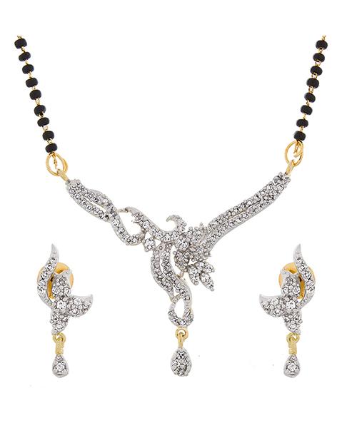 American Diamond Studded Beautiful Gold Plated Mangalsutra