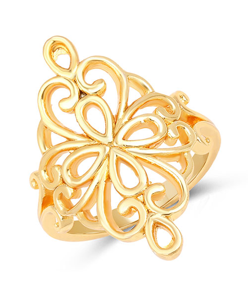Gold Plated Brass Filigree Ring