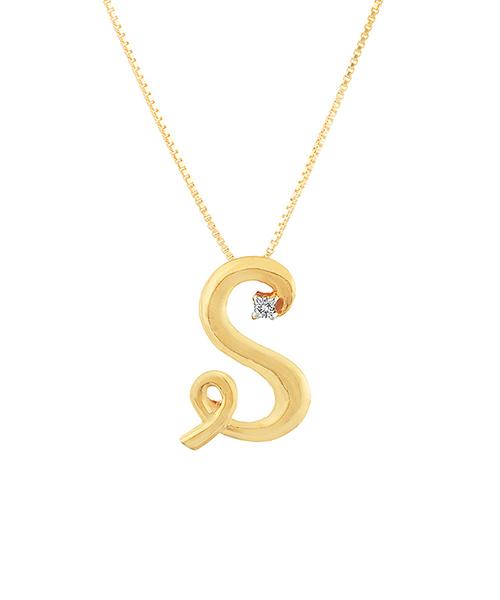 Voylla 9K Hallmark Gold Alphabet S Diamond Pendant
