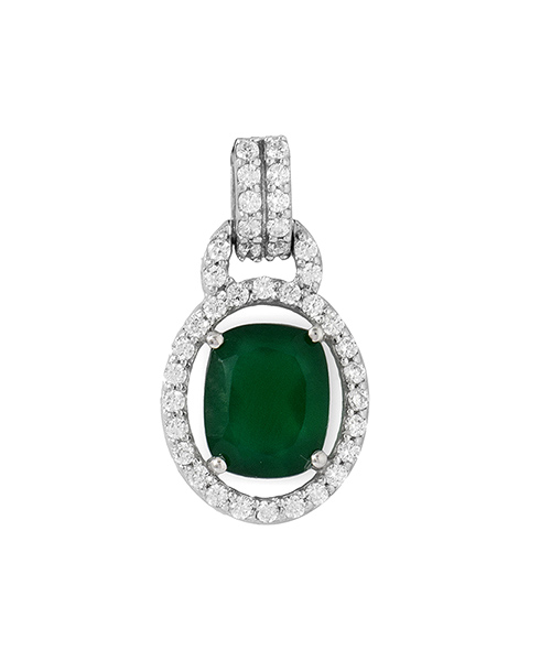Voylla Green Onyx And CZ Studded Sterling Silver Pendant